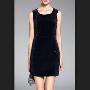 Solid Blue Vintage Ralph Lauren Velvet Dress